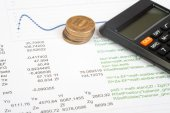 Documents with calculator and money — Stock Photo