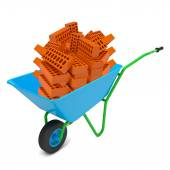 Pile of bricks in hand-barrow — Stock Photo