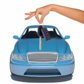 Humans hand with keys and blue car — Stock Photo