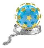 Globe in bear trap — Stock Photo