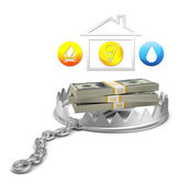 Cash and house icon in bear trap — Stock Photo