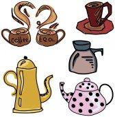 Kahve ve çay malzeme ile renkli çizilmiş resim — Stok Vektör