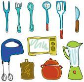 Drawn kitchen stuff — Stock Vector