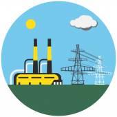 Kleurrijke fabriek met elektrische palen — Stockvector