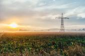 Electric power lines and pylons at sunset — Stock Photo