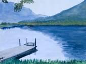 Painting of an Idyllic Lake — Stock Photo