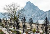 Mountain Traunstein with Graveyard — Stock Photo