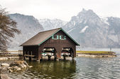 Boathouse at lake Traunsee — Stock Photo