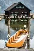 Small boat in Traunsee, Austria — Stock Photo