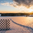 Beautiful winter landscape at sunset — Stock Photo #69237295
