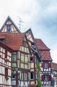 Strange half timbered houses in alsace — Stock Photo