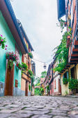 Alley with colorful houses in alsace — Stock Photo