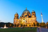 Berlin Cathedral church Berliner Dom and TV tower Fernsehturm — Stock Photo