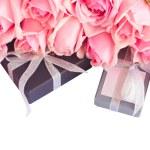 Border of fresh pink garden roses — Stock Photo #52334901