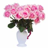 Bouquet of fresh pink roses in vase — Stock Photo