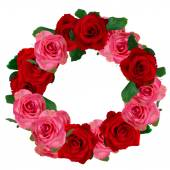 Red and white roses wreath — Stock Photo