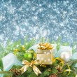 Fir tree and  christmas decorations with gift box — Stock Photo #53456723