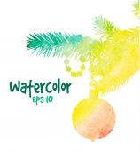 Watercolor christmas tree — Stock Vector