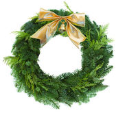 Green christmas wreath woth golden bow — ストック写真