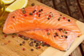 Preparing salmon steak — Foto Stock