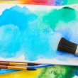 Canva with frame of paints and brushes — Stock Photo #53981537