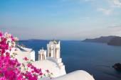 White belfries Santorini island, Greece — Stock Photo