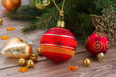 Red and orange  christmas  ball decoration — Stock Photo