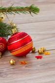 Red and orange  christmas  ball — Stock Photo