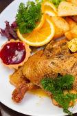 波兰国菜-鸭苹果和土豆 — 图库照片