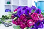 Bunch of  violet and mauve  eustoma flowers — Stock Photo