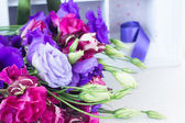 Bunch of  blue  and mauve  eustoma flowers — Stock Photo