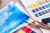 White canva with watercolor stroke — Stock Photo