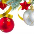 Christmas decorations hanging on fir tree — Stock Photo #55383669