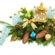 Christmas decorations   on fir tree border — Stock Photo #55384741
