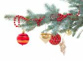 Red and gold christmas decorations   on fir tree — Stock Photo