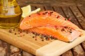 Preparing salmon steak — Stock Photo