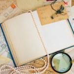 Open empty vintage book — Stock Photo #56224681