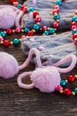 Christmas decorations with  wool socks — Stock Photo