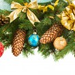 Christmas decorations   on fir tree border — Stock Photo #57160709