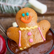 Gingerbread man with  hot chocolate — Stock Photo #57477617