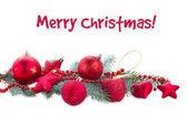 ель дерево ветвь и красный рождественские украшения — Стоковое фото