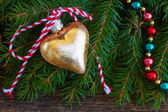 Golden christmas heart — Stock Photo