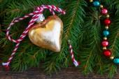 Golden christmas heart — Foto Stock