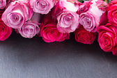 Red and pink  roses  on table — Stock Photo