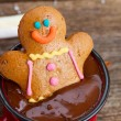 Gingerbread man with hot chocolate — Stock Photo #58115599