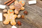 Gingerbread men close  up — 图库照片
