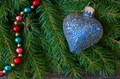 Blue  christmas heart — Stock Photo