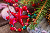 Christmas decorations with  wool socks — Foto de Stock