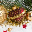 Christmas red and golden heart with evegreen tree — Stock Photo #58446045
