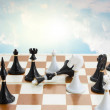 Checkmate white defeats black king — Stock Photo #59006841
